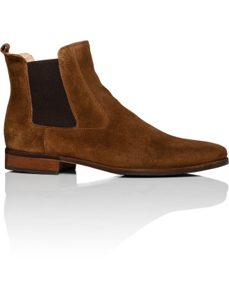 Suede Chelsea Boot W/ Natural Leather & Rubber Sole
