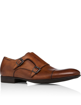 Leather Double Monk Dress Shoe With Rubber Sole