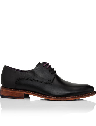 Leather 3 Lace Derby W/ Contrast Leather Sole & Plain Vamp