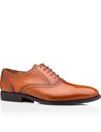 Gilbert High Shine Leather Oxford W/ Brogue Punching