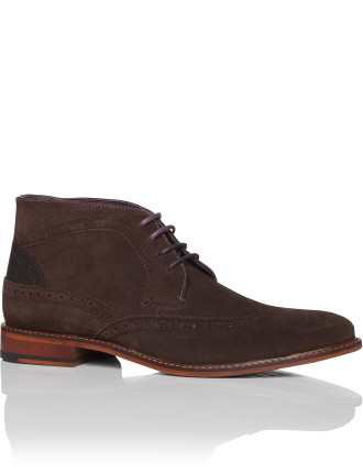 Suede Chukka Boot W/ Wing Tip Brogue Detail