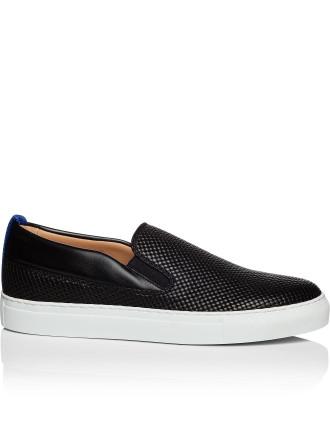 Printed leather slip on sneaker w/ cotnast heel tab