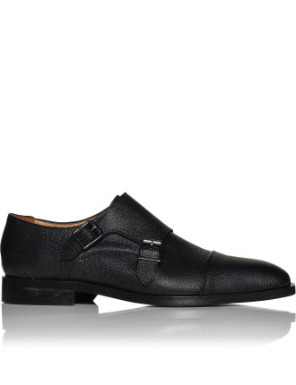 Luigi Pebbled Leather Double Monk Strap