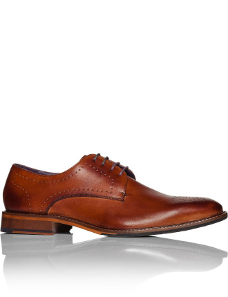Leather Derby W/ Brogue Detail And Brushed Effect