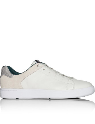 Serge leather sneaker w/ suede & mesh heel detail