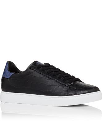 Croc print low profile sneaker with contrast heel counter