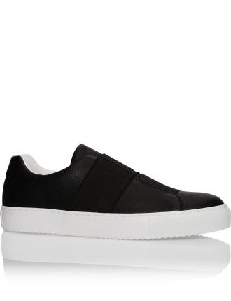 Leather low profile slip on sneaker