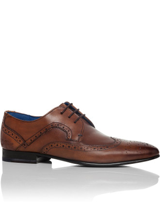 Leather Derby W/ Wing Tip Brogue Detail & Resin Sole