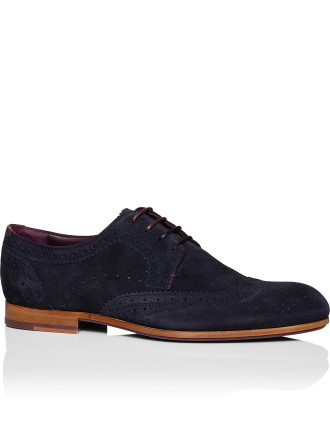 Granet Suede derby w/ wing tip brogue detail & rubber sole