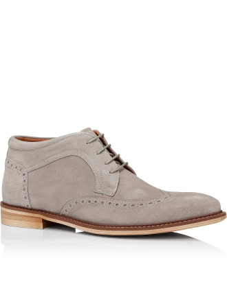 Newport Brogue Suede Lace Up Chukka Demi Boot