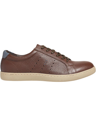 Pebbled Leather Low Profile Sneaker W Rubber Sole