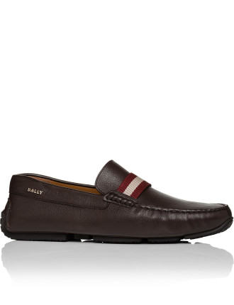PILOT LEATHER DRIVING SHOE W/ BALLY STRIPE RIBBON