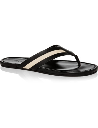 Venice Leather Flip Flop W/ Bally Stripe