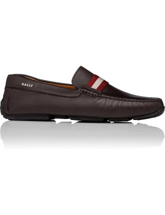 Pilot Pebbled Leather Driving Shoe W/ Bally Stripe Ribbon