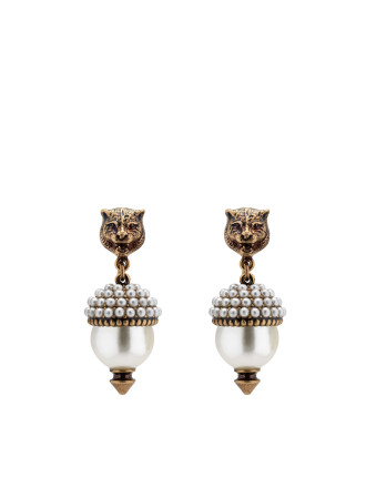 Feline Head Earrings With Crystal And Glass Pearl