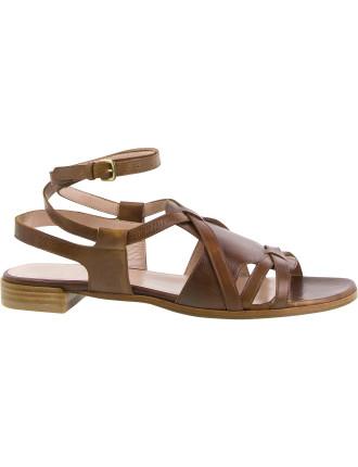 Greek Flat Sandal With Ankle Strap