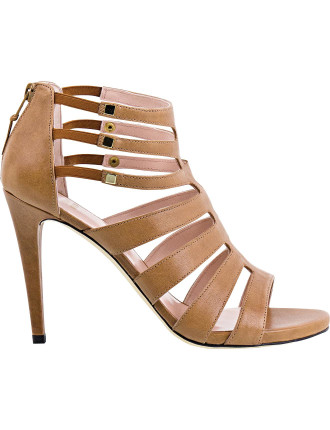 Outing High Heel Strappy Sandal With Back Zip