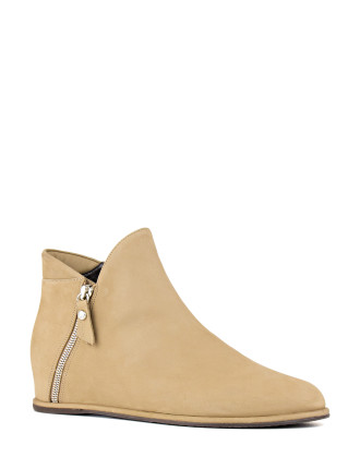 Lowkey Architectural Ankle Boot With Hidden Wedge