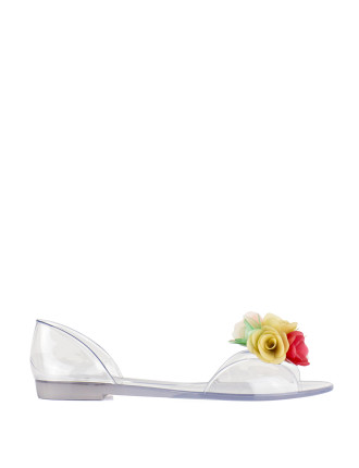 Jellybow Jelly D'Orsay Flat With Flowers