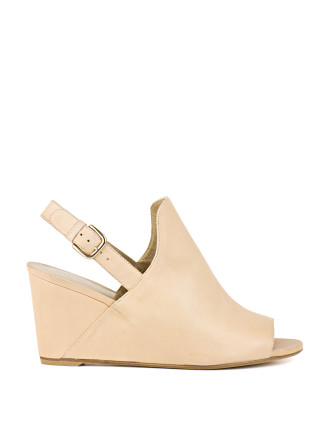Shapely Slingback Peep-Toe Wedge