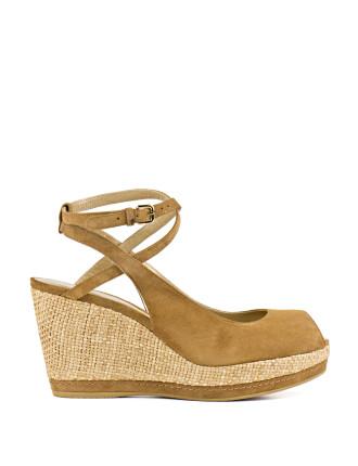 Missx Ankle Strap Rafia Wedge