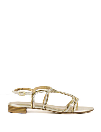 Samoa Metal & Leather Flat Sandal
