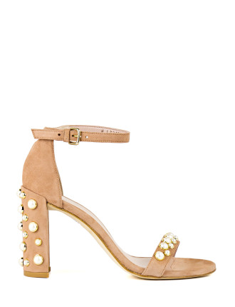 Morepearls Pearl Studded Block Heel Sandal