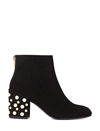 Bacari Block Heel Ankle Boot With Pearls