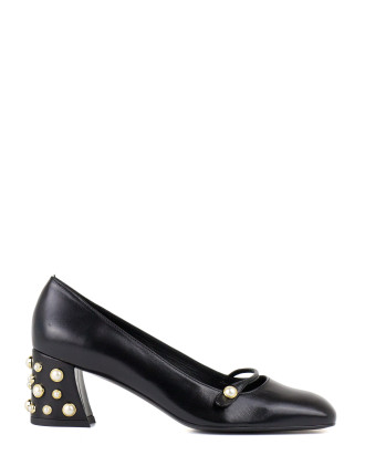Pearlstrap Block Heel Pump With Pearls