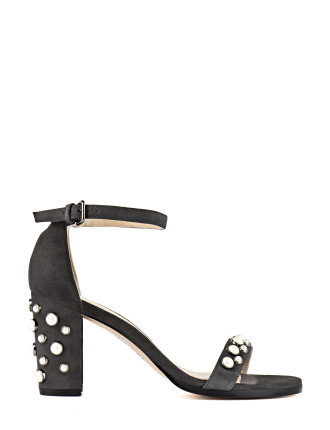 BINGPEARLS PEARL STUDDED BLOCK HEEL SANDAL
