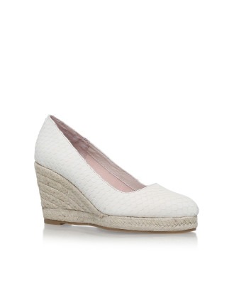 Carvela Kenny Cream Mid Heel Wedge Sandals
