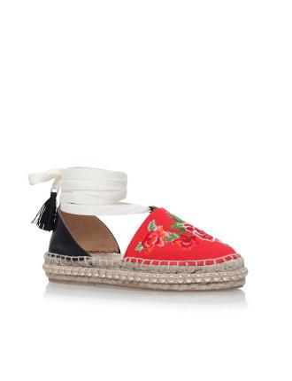 Kurt Geiger London Paris Red Mid Heel Espadrille Sandals