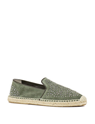 Geometric Studded Espadrille Loafer