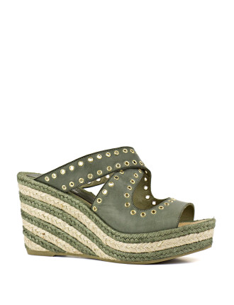 Laser Crossover Espadrille Wedge