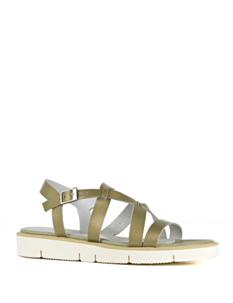Saintly Strappy Sandal On A White Sole