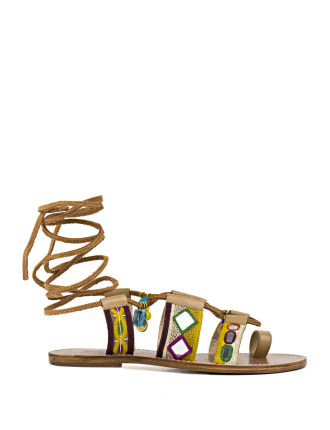 Tilford Embellished Lace-Up Sandal