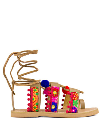 Tickle Embellished Lace-Up Sandal