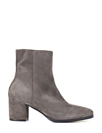 Unibar Suede Block Heel Ankle Boot