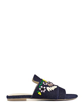 Shiloh Denim Embroidered Slide Sandal