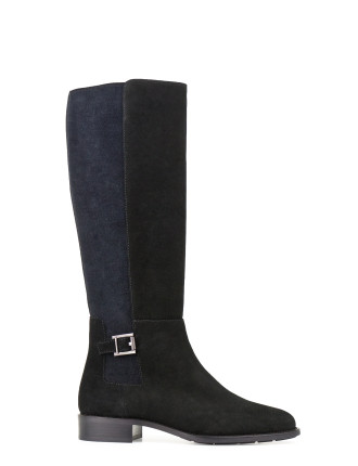NOELLA KNEE HIGH FLAT BOOT WITH BUCKLE