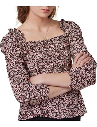 Lanael Long-sleeved Printed Top