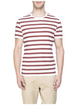 Burgundy Stripe Short Sleeve
