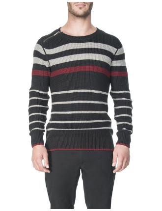 Zip Shoulder Stripe Knit Jumper