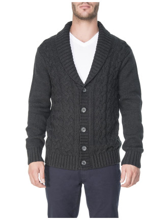 Shawl Neck Chunky Cable Cardigan