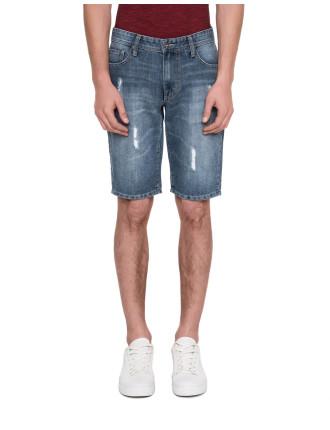 Breakage Denim Shorts