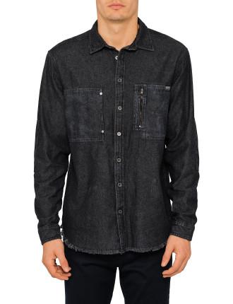 Black Raw Hem Denim Shirt
