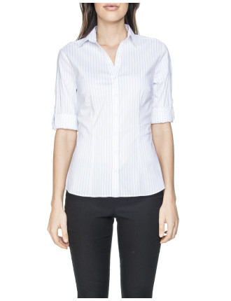 Striped Crop Sleeve Shirt