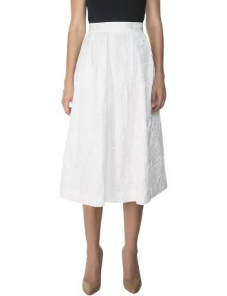 Floral Embossed Pleated Skirt