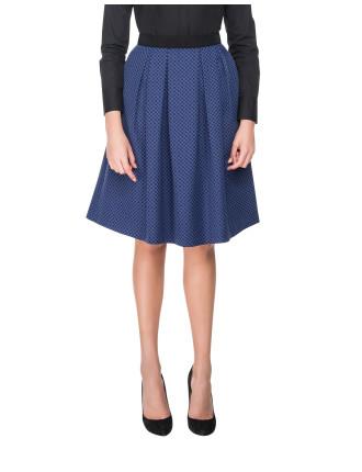 Woven Pleat Midi Skirt