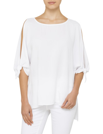 Tie Sleeve Cold Shoulder Shell Top
